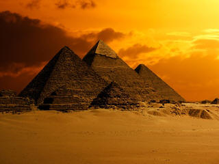 Cairo pyramids sunset