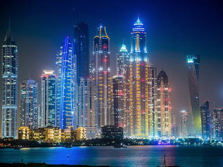 Dubai city skline lights