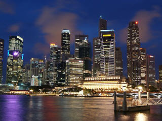 Singapore skyline lights