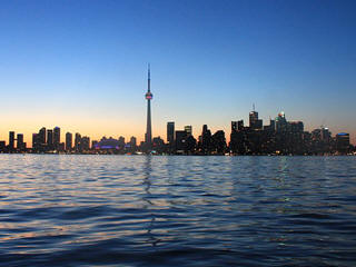 Toronto city skyline sunset